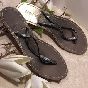 J.Crew gray metallic thong sandals size 8